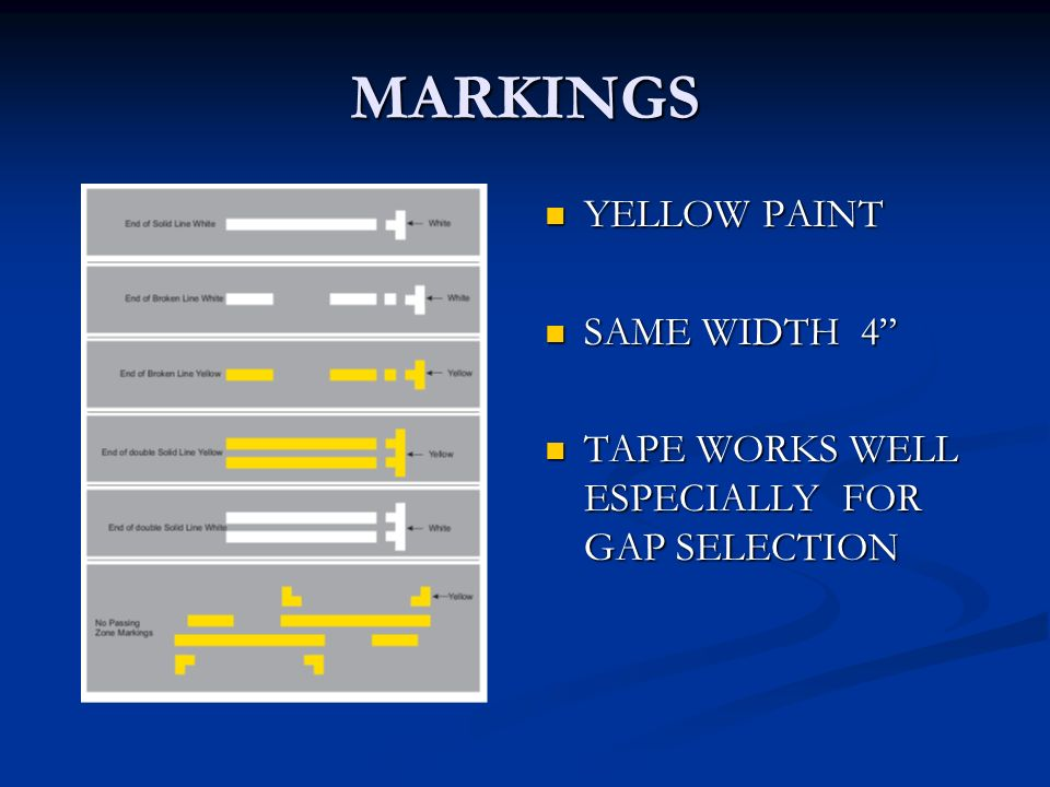 MARKINGS YELLOW PAINT SAME WIDTH 4 TAPE WORKS WELL ESPECIALLY FOR GAP SELECTION