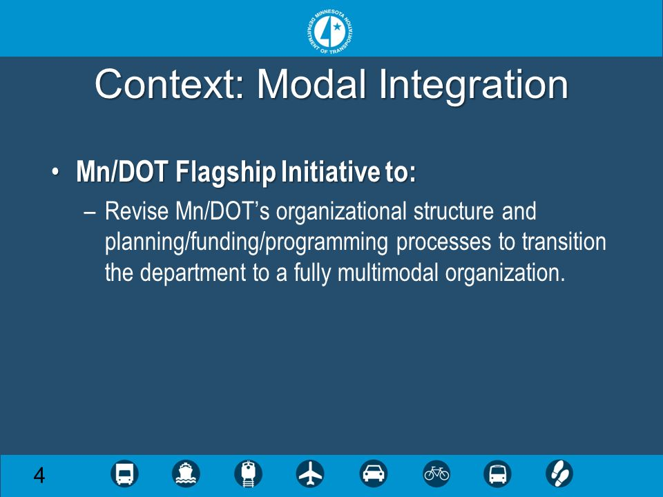 Context: Modal Integration Mn/DOT Flagship Initiative to: Mn/DOT Flagship Initiative to: –Revise Mn/DOTs organizational structure and planning/funding/programming processes to transition the department to a fully multimodal organization.