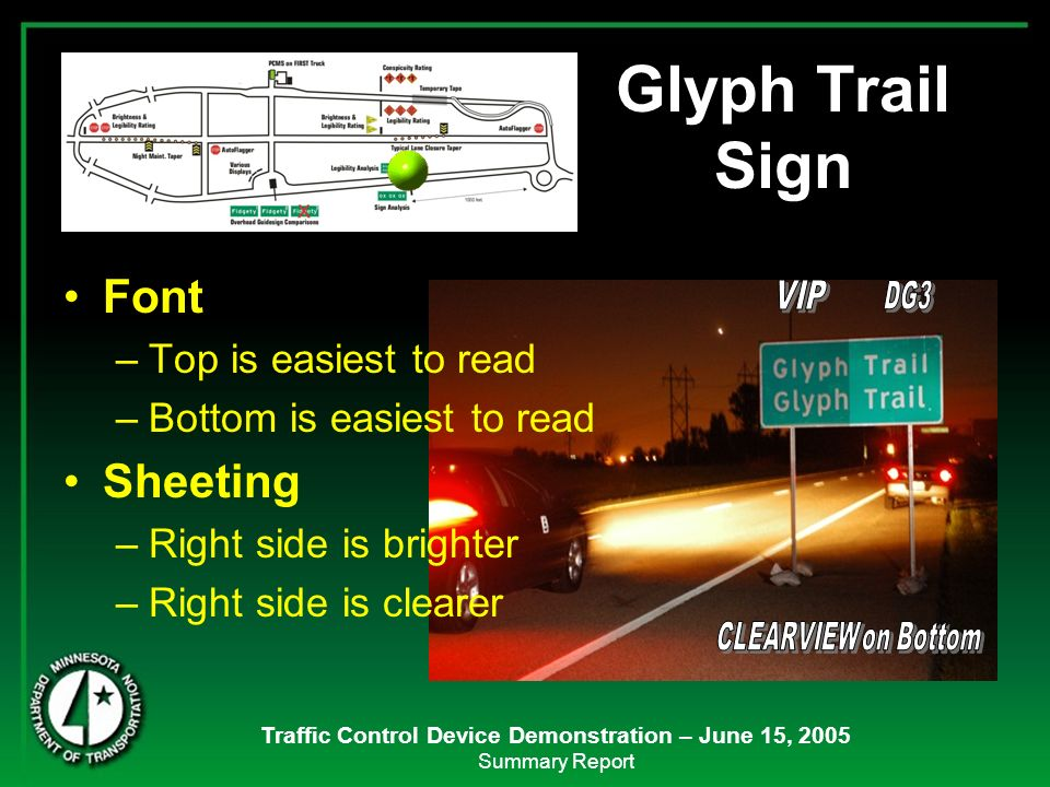 Traffic Control Device Demonstration – June 15, 2005 Summary Report Font –Top is easiest to read –Bottom is easiest to read Sheeting –Right side is br