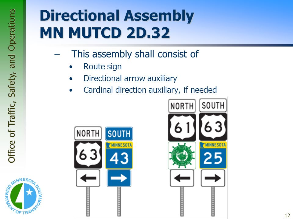 Office of Traffic, Safety, and Operations 12 Application Guidelines – Guide Signs Directional Assembly MN MUTCD 2D.32 –This assembly shall consist of