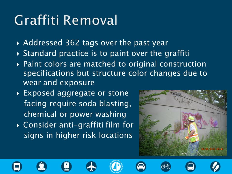 Addressed 362 tags over the past year Standard practice is to paint over the graffiti Paint colors are matched to original construction specifications but structure color changes due to wear and exposure Exposed aggregate or stone facing require soda blasting, chemical or power washing Consider anti-graffiti film for signs in higher risk locations