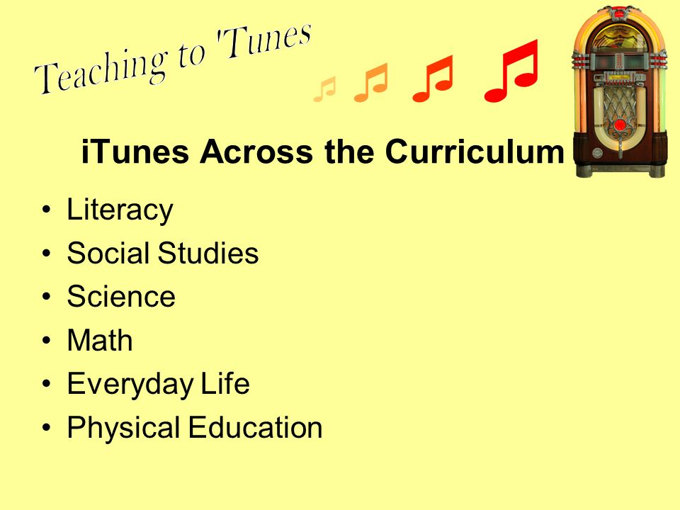 iTunes Across the Curriculum Literacy Social Studies Science Math Everyday Life Physical Education