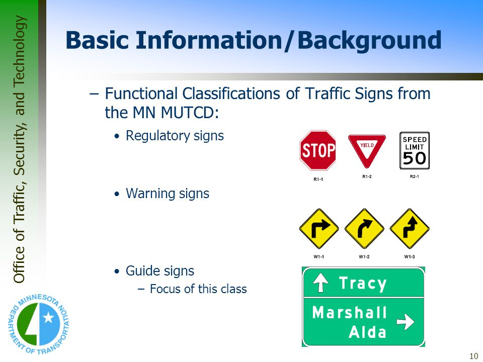 Office of Traffic, Security, and Technology 10 Basic Information/Background –Functional Classifications of Traffic Signs from the MN MUTCD: Regulatory
