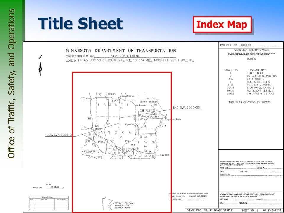 Office of Traffic, Safety, and Operations 23 Title Sheet Index Map