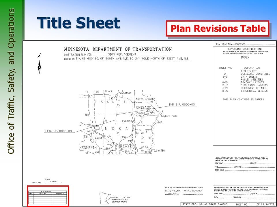 Office of Traffic, Safety, and Operations 26 Title Sheet Index Map Plan Revisions Table