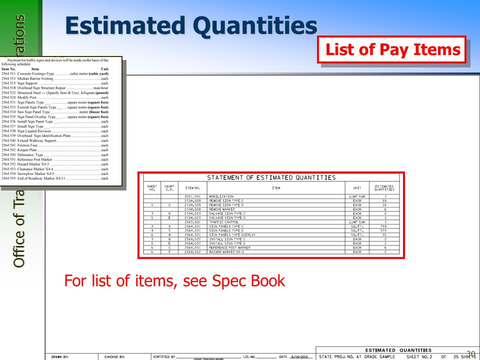 Office of Traffic, Safety, and Operations 30 Estimated Quantities For list of items, see Spec Book List of Pay Items