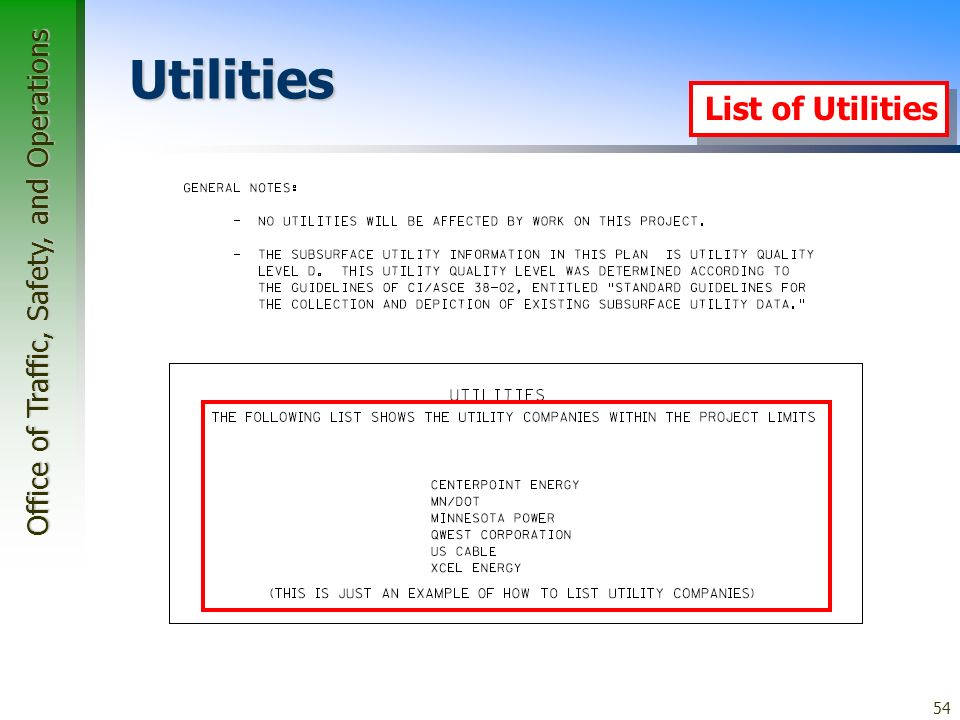 Office of Traffic, Safety, and Operations 54 Utilities List of Utilities
