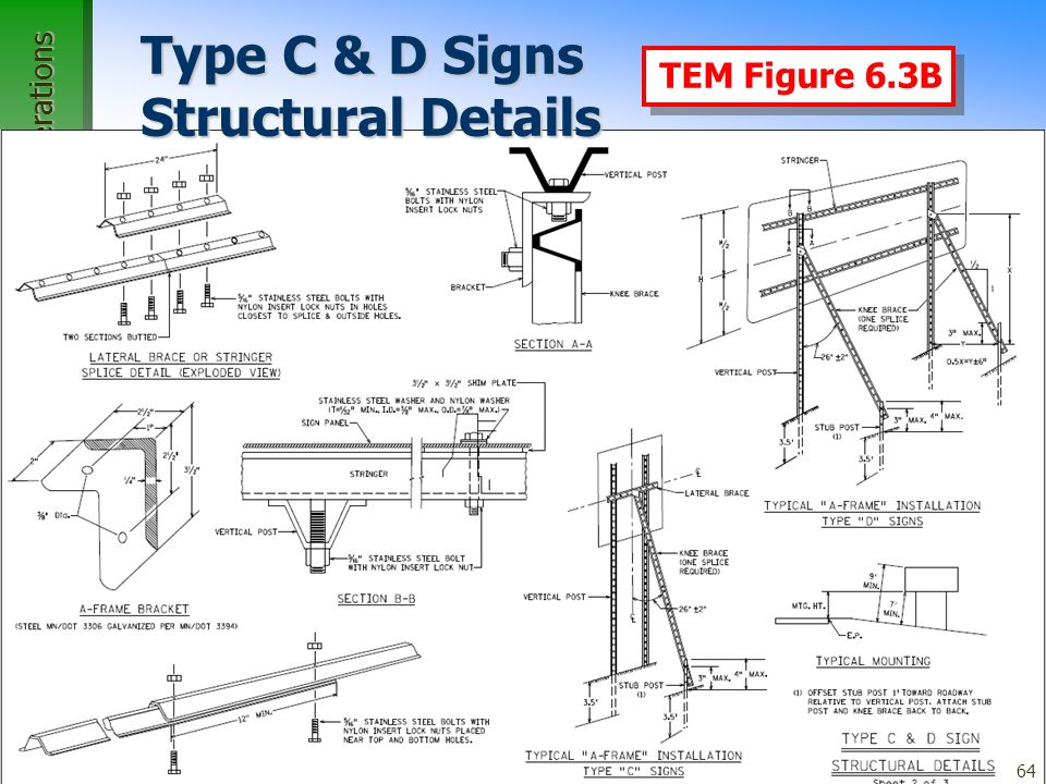 Office of Traffic, Safety, and Operations 64 Type C & D Signs Structural Details TEM Figure 6.3B