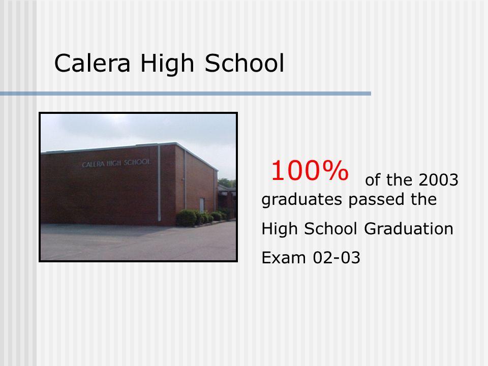 Calera High School of the 2003 graduates passed the High School Graduation Exam 02-03 100%