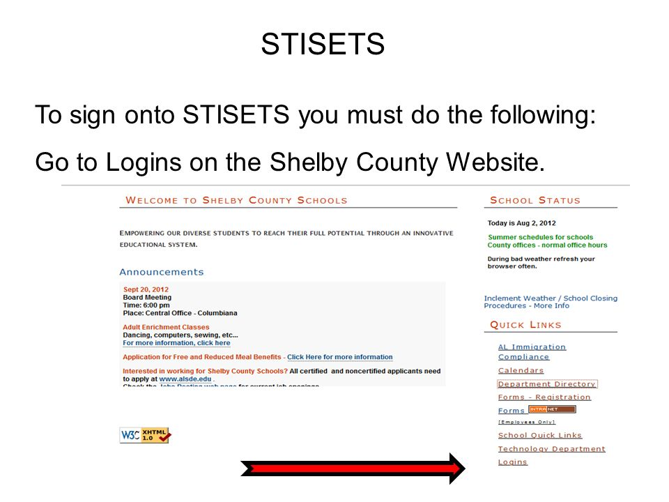 STISETS To sign onto STISETS you must do the following: Go to Logins on the Shelby County Website.