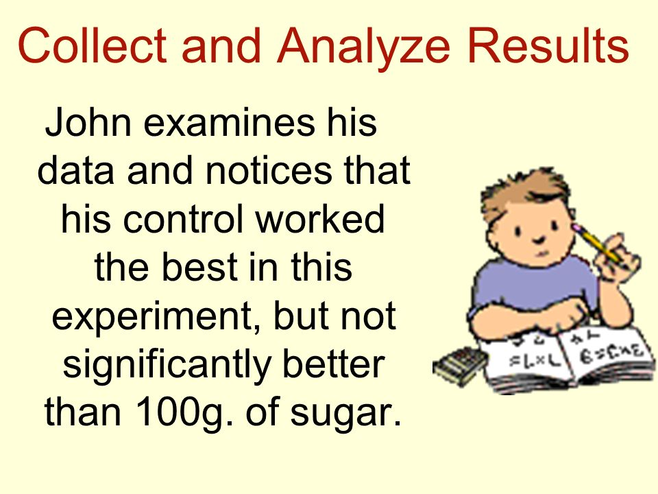 Collect and Analyze Results John examines his data and notices that his control worked the best in this experiment, but not significantly better than