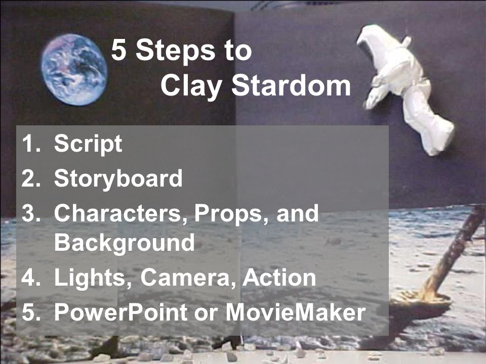 5 Steps to Clay Stardom 1.Script 2.Storyboard 3.Characters, Props, and Background 4.Lights, Camera, Action 5.PowerPoint or MovieMaker