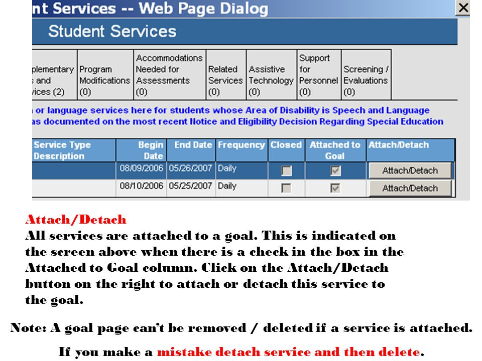 Attach/Detach All services are attached to a goal.