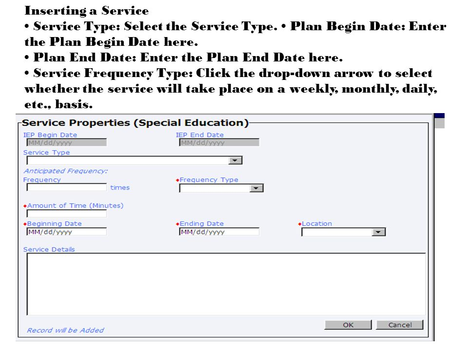 Inserting a Service Service Type: Select the Service Type.