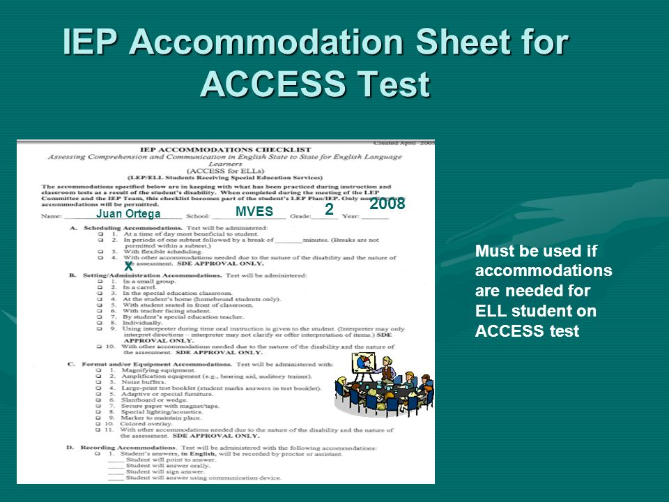 IEP Accommodation Sheet for ACCESS Test Must be used if accommodations are needed for ELL student on ACCESS test Juan Ortega MVES 2 2008 x