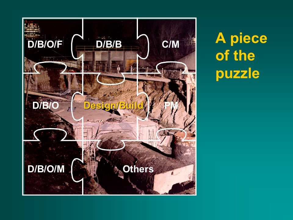 A piece of the puzzle D/B/O/FD/B/BC/M D/B/ODesign/BuildPM D/B/O/MOthers