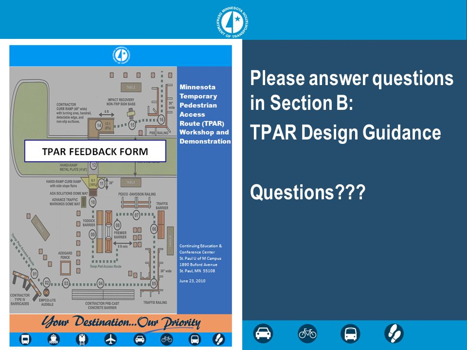 Please answer questions in Section B: TPAR Design Guidance Questions???