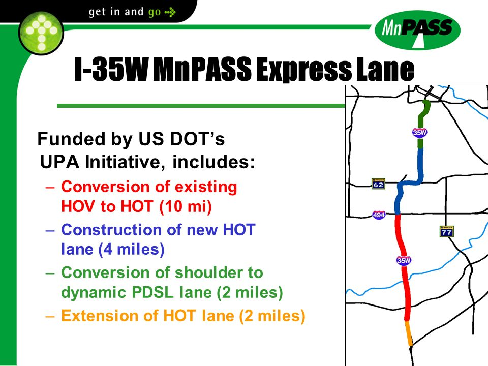 I-35W MnPASS Express Lane Funded by US DOTs UPA Initiative, includes: –Conversion of existing HOV to HOT (10 mi) –Construction of new HOT lane (4 mile