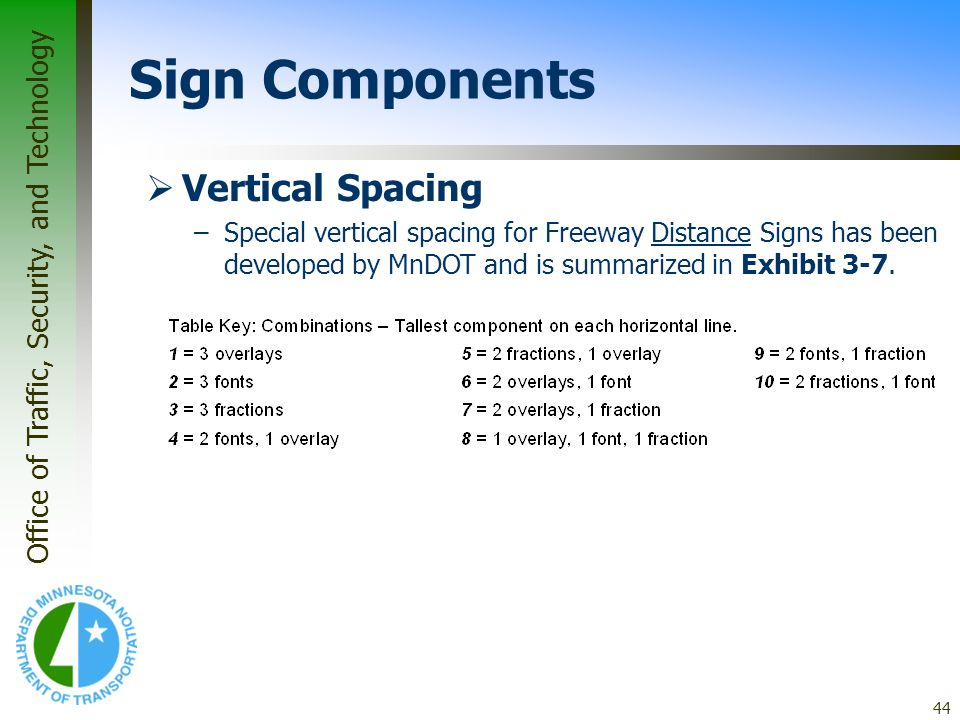 Office of Traffic, Security, and Technology 44 Vertical Spacing –Special vertical spacing for Freeway Distance Signs has been developed by MnDOT and i