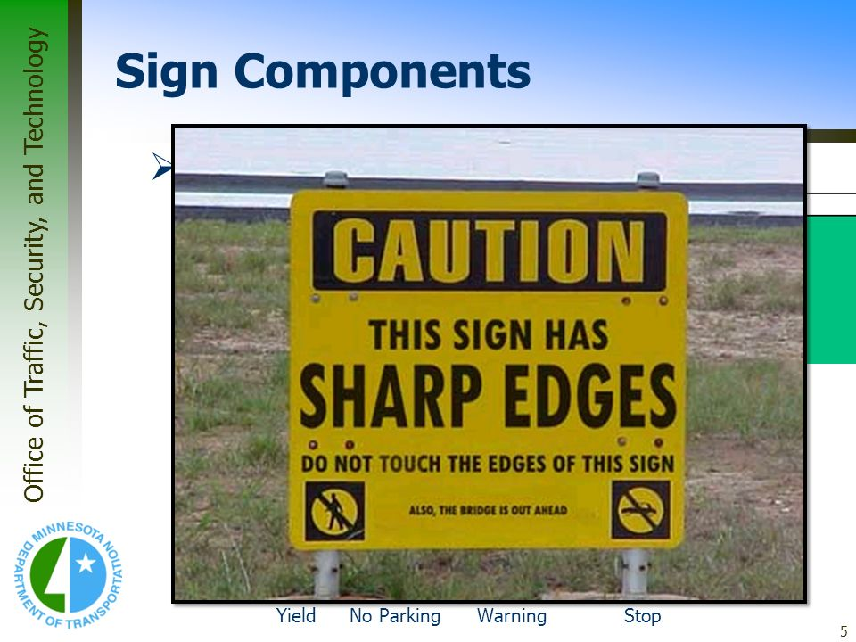Office of Traffic, Security, and Technology 5 Panel Corners –Generally, guide signs do not have radiused corners. The border will be radiused, but the