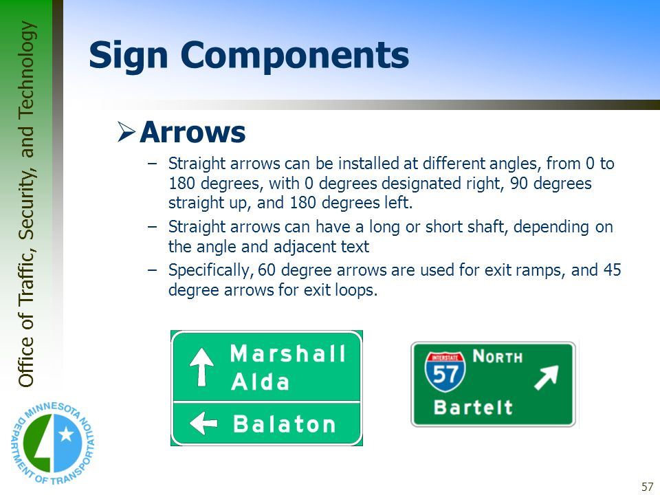 Office of Traffic, Security, and Technology 57 Arrows –Straight arrows can be installed at different angles, from 0 to 180 degrees, with 0 degrees des
