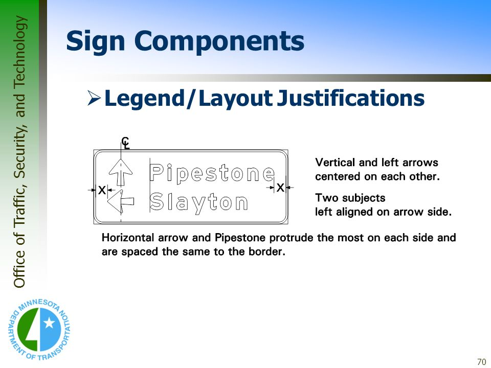 Office of Traffic, Security, and Technology 70 Legend/Layout Justifications Sign Components