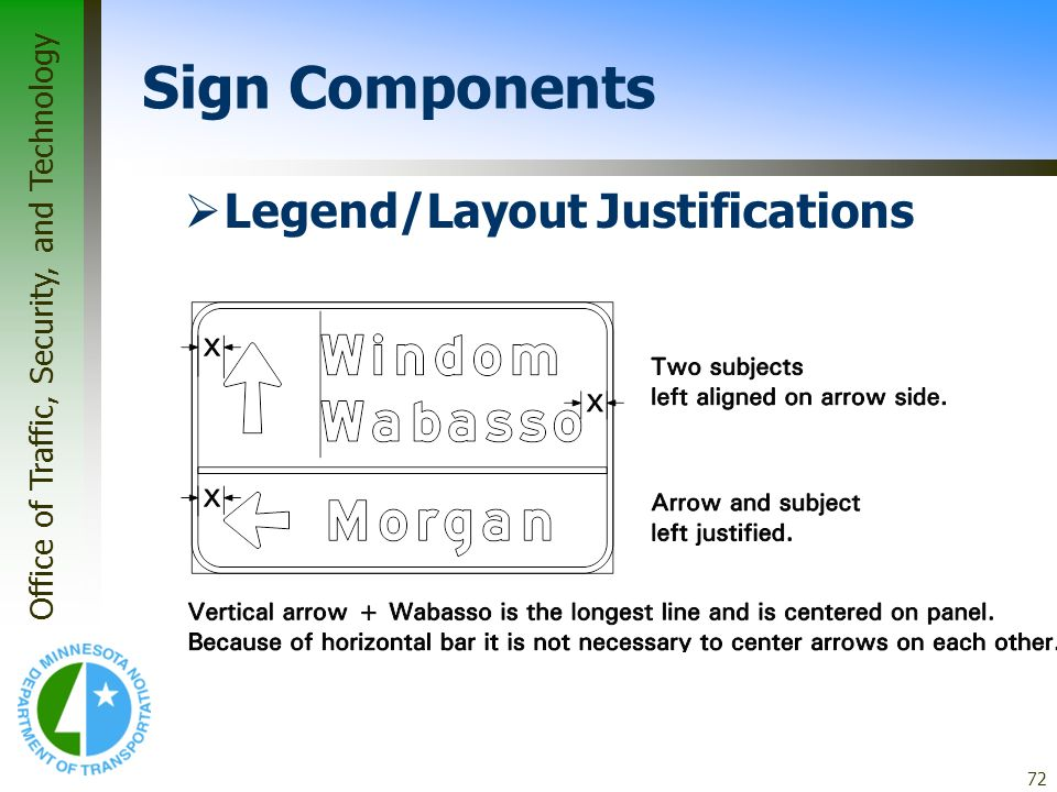 Office of Traffic, Security, and Technology 72 Legend/Layout Justifications Sign Components