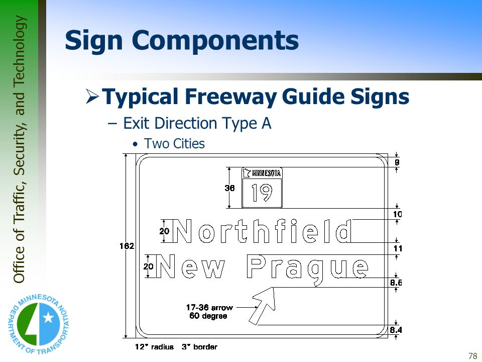 Office of Traffic, Security, and Technology 78 Typical Freeway Guide Signs –Exit Direction Type A Two Cities Sign Components