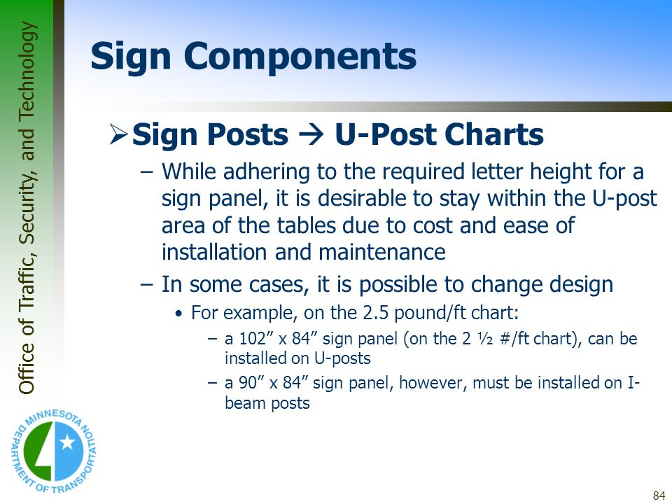 Office of Traffic, Security, and Technology 84 Sign Posts U-Post Charts –While adhering to the required letter height for a sign panel, it is desirabl