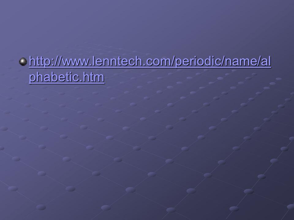 http://www.lenntech.com/periodic/name/al phabetic.htm http://www.lenntech.com/periodic/name/al phabetic.htm