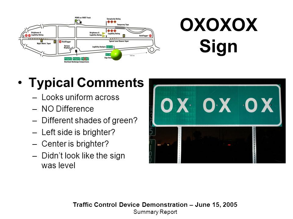 Traffic Control Device Demonstration – June 15, 2005 Summary Report Typical Comments –Looks uniform across –NO Difference –Different shades of green.