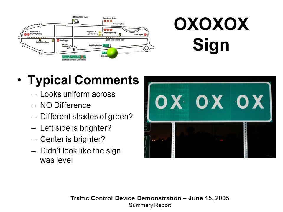 Traffic Control Device Demonstration – June 15, 2005 Summary Report Night Maint.