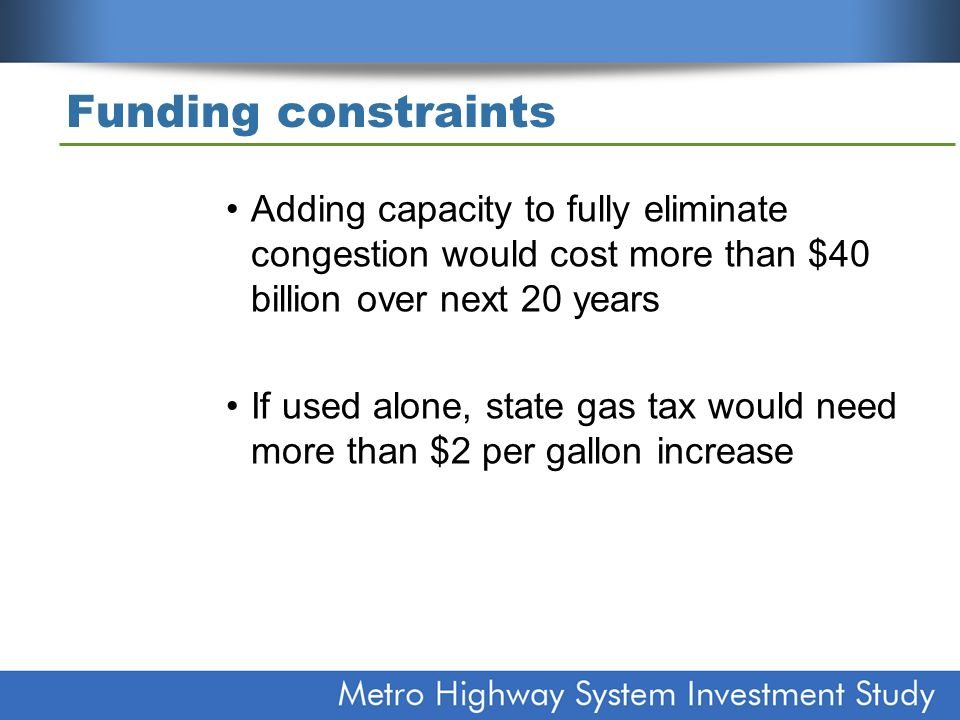 Funding constraints Adding capacity to fully eliminate congestion would cost more than $40 billion over next 20 years If used alone, state gas tax wou