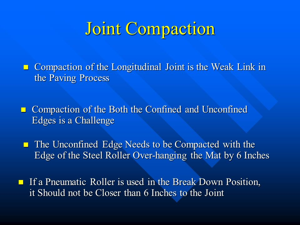 Joint Compaction Compaction of the Longitudinal Joint is the Weak Link in the Paving Process Compaction of the Longitudinal Joint is the Weak Link in the Paving Process Compaction of the Both the Confined and Unconfined Edges is a Challenge Compaction of the Both the Confined and Unconfined Edges is a Challenge The Unconfined Edge Needs to be Compacted with the Edge of the Steel Roller Over-hanging the Mat by 6 Inches The Unconfined Edge Needs to be Compacted with the Edge of the Steel Roller Over-hanging the Mat by 6 Inches If a Pneumatic Roller is used in the Break Down Position, it Should not be Closer than 6 Inches to the Joint If a Pneumatic Roller is used in the Break Down Position, it Should not be Closer than 6 Inches to the Joint