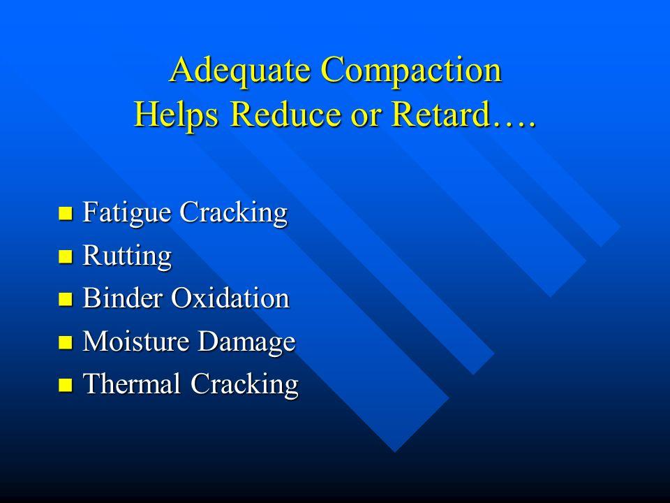 Adequate Compaction Helps Reduce or Retard…. Fatigue Cracking Fatigue Cracking Rutting Rutting Binder Oxidation Binder Oxidation Moisture Damage Moist