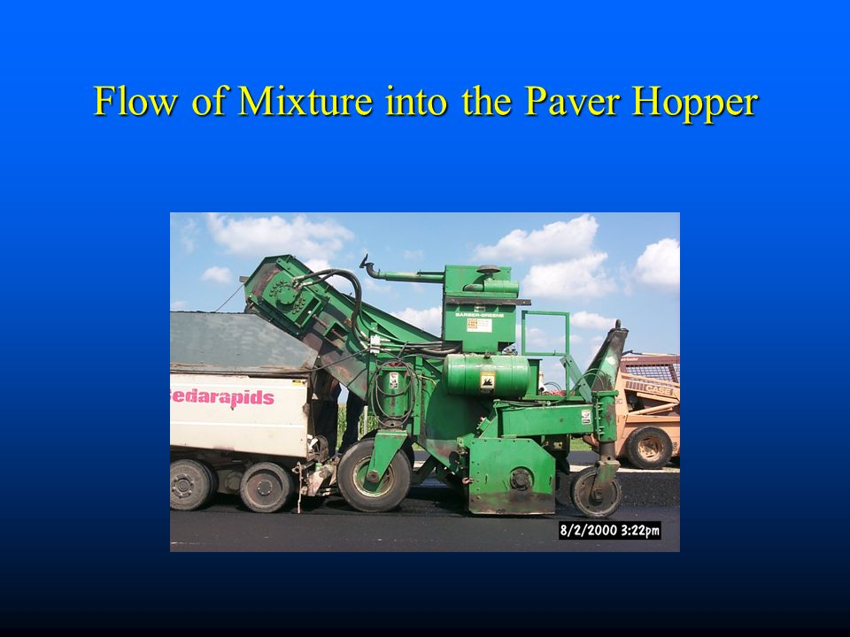Flow of Mixture into the Paver Hopper