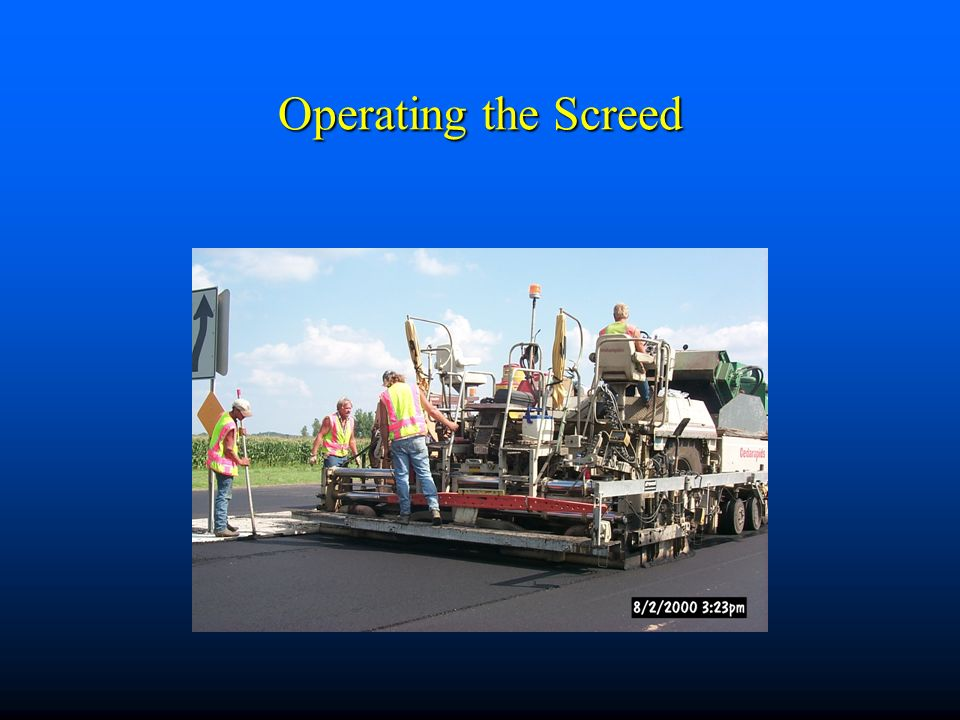 Operating the Screed