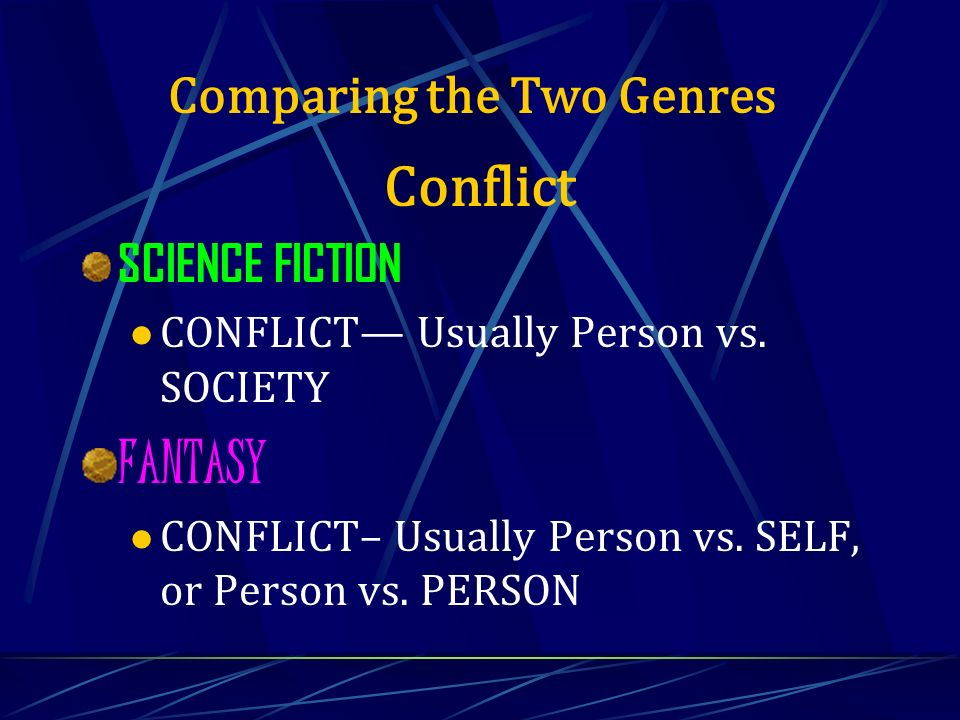 Conflict SCIENCE FICTION CONFLICT Usually Person vs. SOCIETY FANTASY CONFLICT– Usually Person vs. SELF, or Person vs. PERSON Comparing the Two Genres
