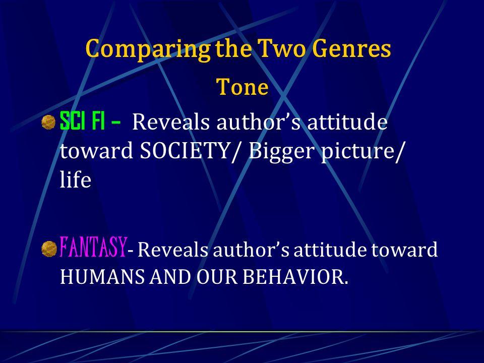 Tone SCI FI – Reveals authors attitude toward SOCIETY/ Bigger picture/ life FANTASY - Reveals authors attitude toward HUMANS AND OUR BEHAVIOR. Compari