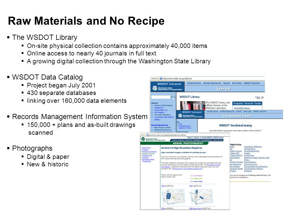 Raw Materials and No Recipe The WSDOT Library On-site physical collection contains approximately 40,000 items Online access to nearly 40 journals in full text A growing digital collection through the Washington State Library WSDOT Data Catalog Project began July 2001 430 separate databases linking over 160,000 data elements Records Management Information System 150,000 + plans and as-built drawings scanned Photographs Digital & paper New & historic