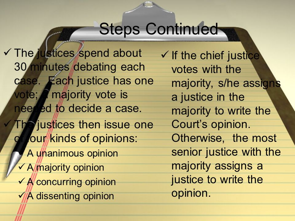Steps Continued The justices spend about 30 minutes debating each case. Each justice has one vote; a majority vote is needed to decide a case. The jus