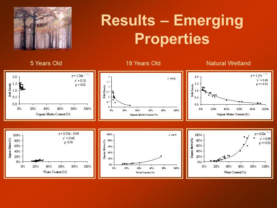 Results – Emerging Properties 18 Years OldNatural Wetland5 Years Old
