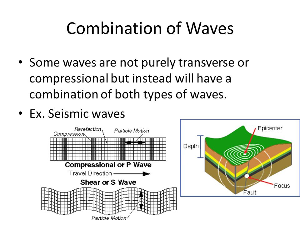 Combination of Waves Some waves are not purely transverse or compressional but instead will have a combination of both types of waves. Ex. Seismic wav