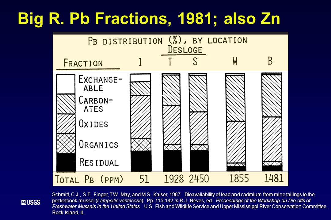 Big R. Pb Fractions, 1981; also Zn Schmitt, C.J., S.E. Finger, T.W. May, and M.S. Kaiser, 1987. Bioavailability of lead and cadmium from mine tailings
