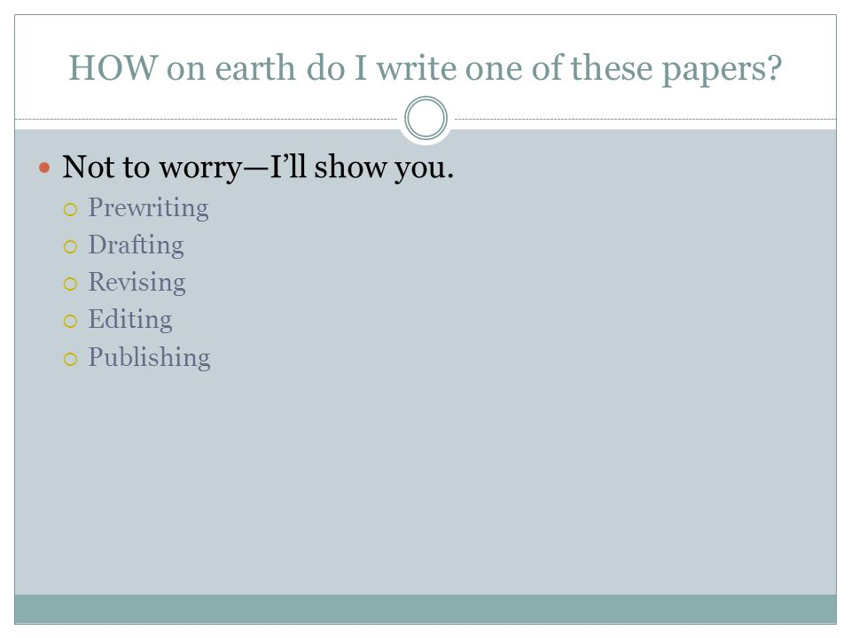 HOW on earth do I write one of these papers? Not to worryIll show you. Prewriting Drafting Revising Editing Publishing