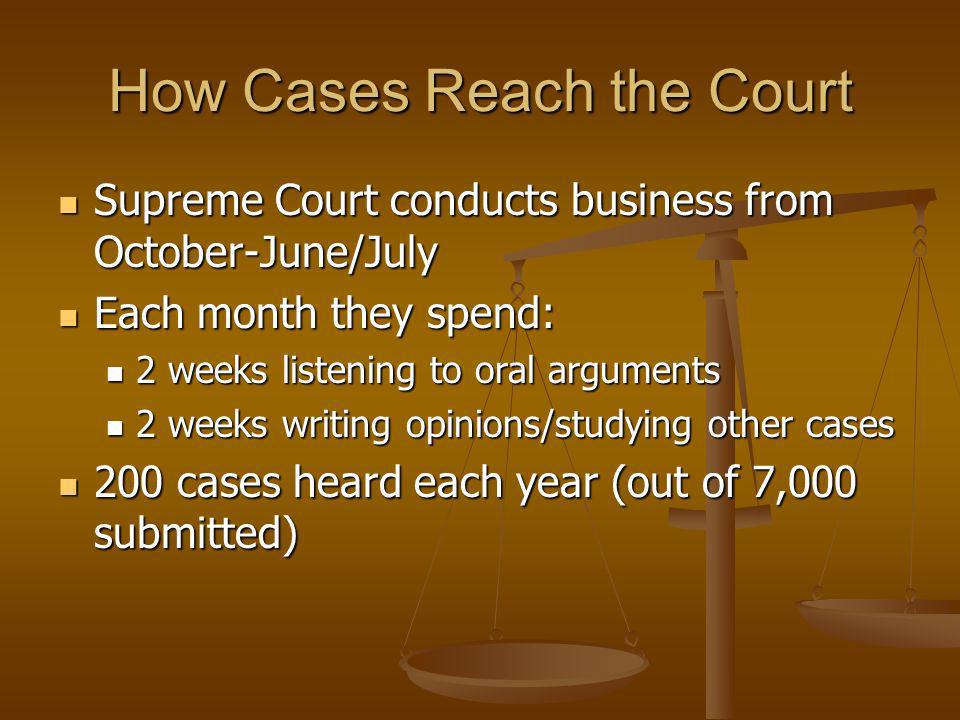 How Cases Reach the Court Supreme Court conducts business from October-June/July Supreme Court conducts business from October-June/July Each month the