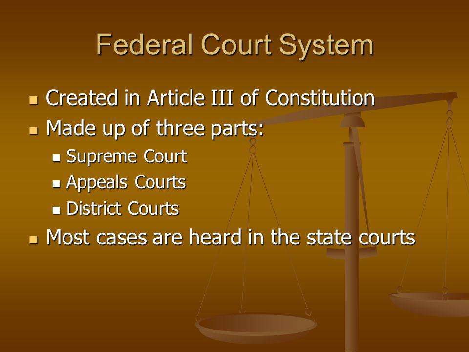 Federal Court System Created in Article III of Constitution Created in Article III of Constitution Made up of three parts: Made up of three parts: Sup