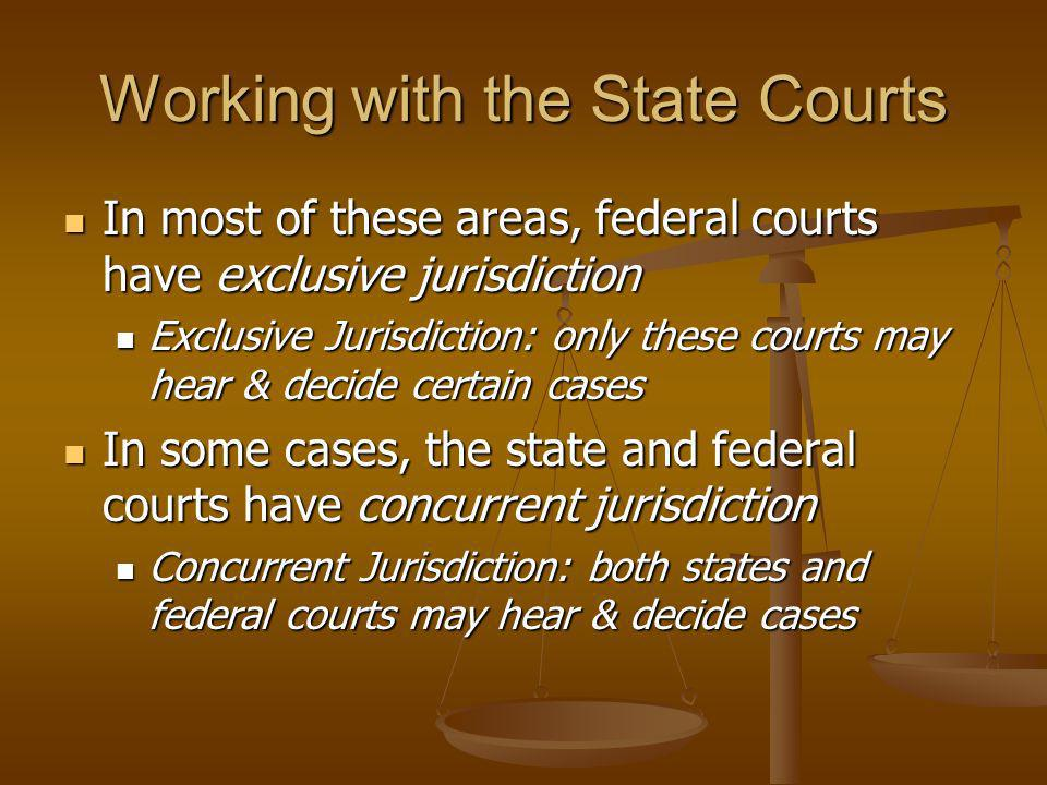 Working with the State Courts In most of these areas, federal courts have exclusive jurisdiction In most of these areas, federal courts have exclusive