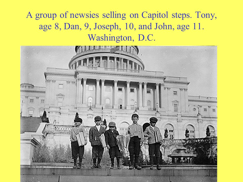 A group of newsies selling on Capitol steps. Tony, age 8, Dan, 9, Joseph, 10, and John, age 11. Washington, D.C.
