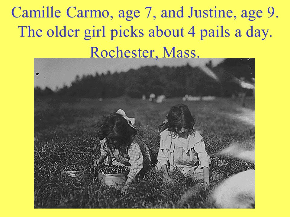Camille Carmo, age 7, and Justine, age 9. The older girl picks about 4 pails a day. Rochester, Mass.